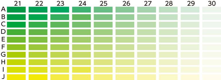 カラーチャート 緑・黄色