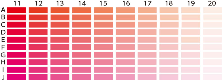 カラーチャート 赤ピンク系